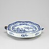 A blue and white hot water dish, qing dynasty, 18th century.