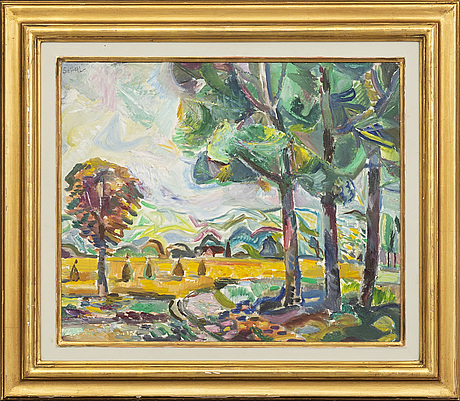Jules schyl, oil on panel signed and dated 1949.