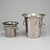 A silver plated wine cooler and ice bucket, one by o h lagerstedt a-b eskilstuna, mid 20th century.