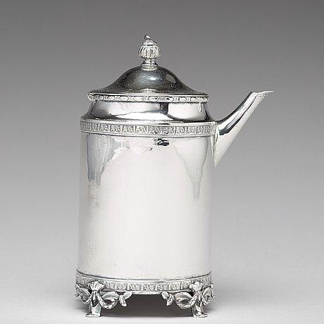 Stephan halling, kaffekanna, silver, örebro 1784. gustaviansk.