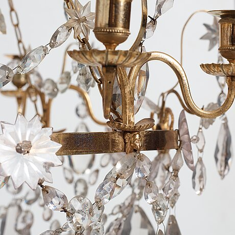 A gustavian late 18th century eight-light chandelier.