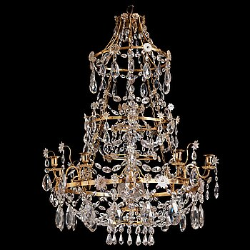 76. A Gustavian late 18th century eight-light chandelier.