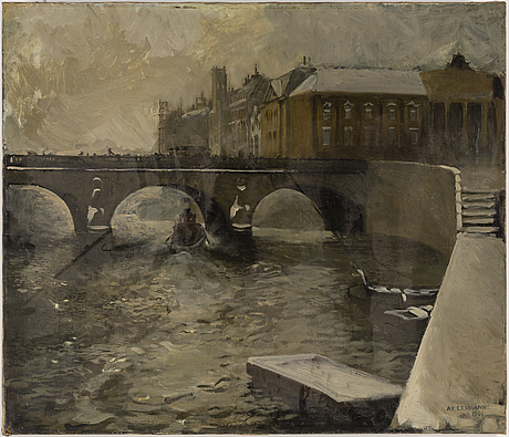 Axel erdmann, oil on canvas, signed and dated 1901.