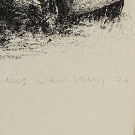 Ulf wahlberg, litografier, 2 st, 1976, 2001, signerade 191/320, 248/295.