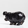 Figurin, flodhäst, obsidian, sannolikt ryssland 1900-tal.
