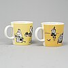 Two moomin characters porcelain mugs from arabia, finland, 1990-96.