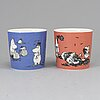 Two moomin characters porcelain mugs from arabia, finland, 1991-99.