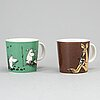 Two moomin characters porcelain mugs from arabia, finland.