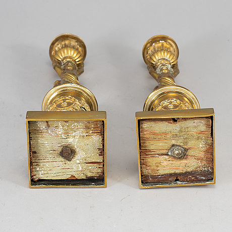A second half of the 19th century pair of brass candlesticks.