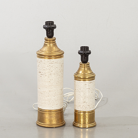 Two stoneware table lamps, bitossi, bergboms, later part of the 20th century.