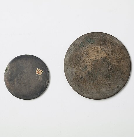 Two bronze mirrors, han dynasty  (206 bc–220 ad).