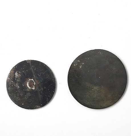 Two bronze mirrors, han dynasty (206 b.c. - 220 a.d.).