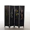 A japanese 20th century lacquered folding screen with stonework,