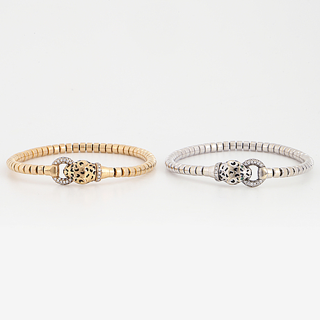 Two panther stretchy white gold and rosé gold with brilliant-cut diamonds.