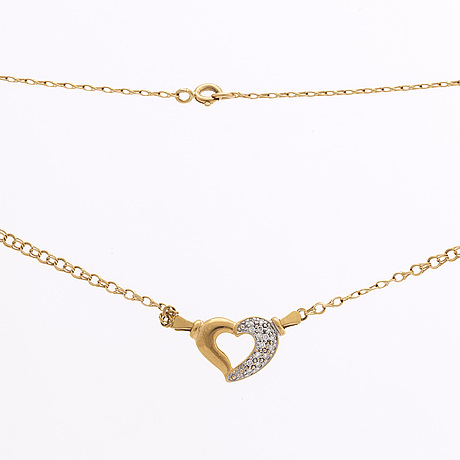 Necklace and bracelet 18k gold w single-cut diamonds, total weight 10,4 g.