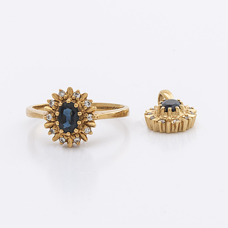 Ring and pendant 18k gold w 2 sapphires and brilliant-cut diamonds.
