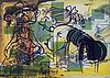 Sigmar polke, double-sided offset lithograph in colors on tracing paper, 1991, signed and numbered 53/100.