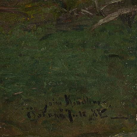 Johan kindborg, oil on canvas, signed and dated Östanå juli -84.