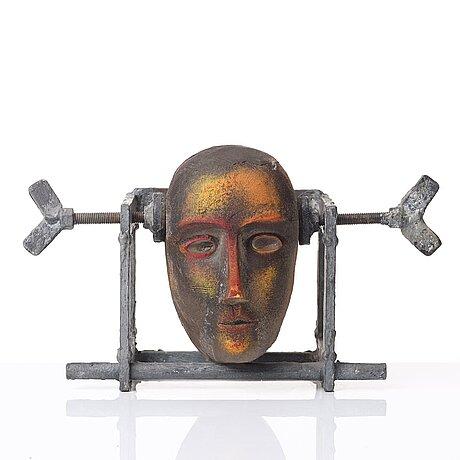 Bertil vallien, a unique sand cast glass sculpture of a head, kosta boda, sweden.