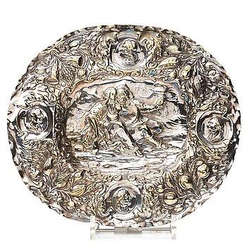 101. A North European silvered brass dish, 17th-/18th century.