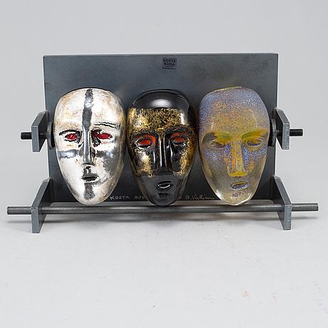 Bertil vallien, a glass and steel sculpture, kosta boda limited edition 100.