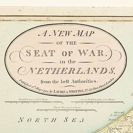 Map, 'seat of war in the netherlands' robert laurie & james whittle, 1794.