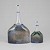 Bertil vallien, two glass vases from kosta boda artist collection.