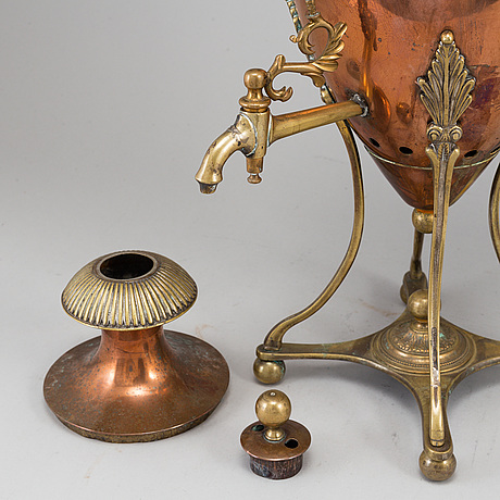 An empire brass and copper samovar, early 19th century.