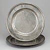 Five swedish pewter dishes. 18th and 19th century.