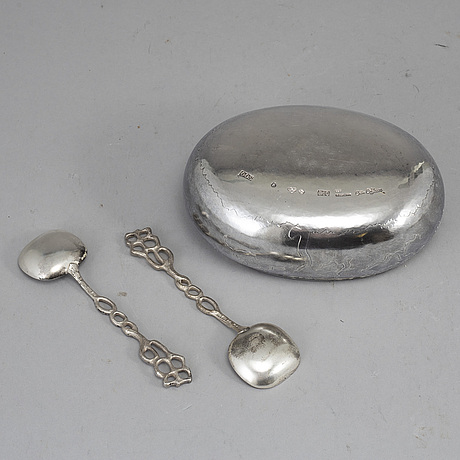 A sterling silver bowl with 2 spoons by olle ohlsson, stockholm 1981.