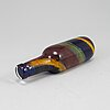 A bertil vallien glass sculpture of a flask, kosta boda, signed and numbered.