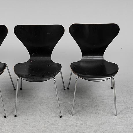 Arne jacobsen, four 'series 7' chairs from fritz hansen, denmark, 1974.