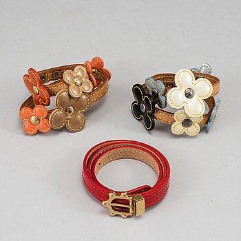 LOUIS VUITTON, 3 bracelets, 2 x 'Lexington bracelet' & 1 'Vernis Triple Tour Bracelet'.
