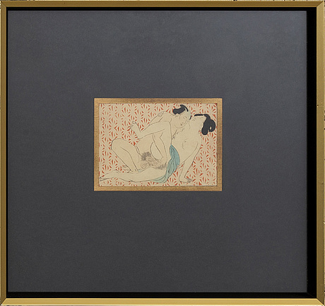 TrÄsnitt, 3 st, japan, shunga, 1800-tal.
