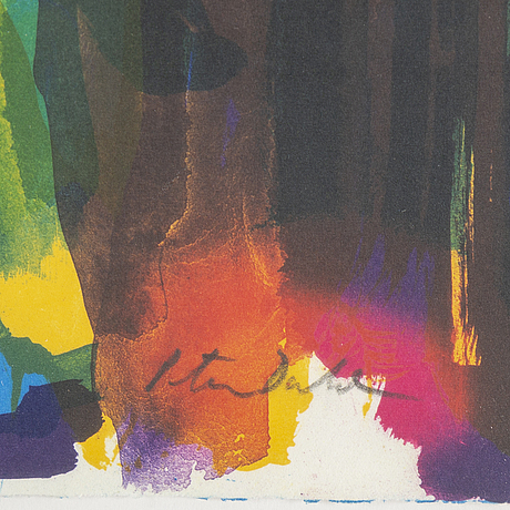 Peter dahl, lithograph in colours, signed peter dahl in pencil, ea.