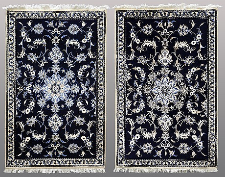 Two nain rugs, ca 139 x 90 and 139 x 89 cm.