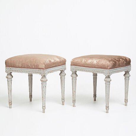 A pair of gustavian stools by erik Öhrmark (master in stockholm 1777-1813).