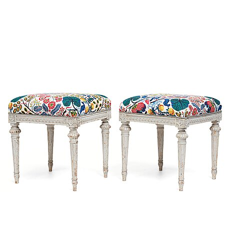 A pair of gustavian stools by erik Öhrmark (master in stockholm 1777-1813).
