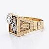 Free mason ring 10k gold 1 brilliant-cut diamond approx 0,70 ct inclusions, size 71.