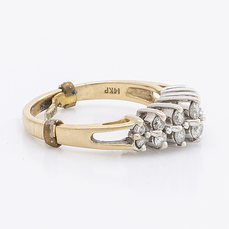 Ring 14k gold brilliant-cut diamonds approx 0,40 ct in total.