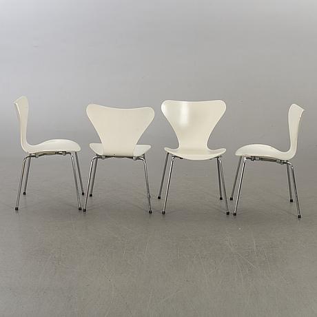 """Arne jacobsen, stolar, 4 st,  """"sjuan"""", fritz hansen, danmark, 1977."""