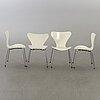 Arne jacobsen, four 'series 7' chairs, fritz hansen, denmark, 1977.