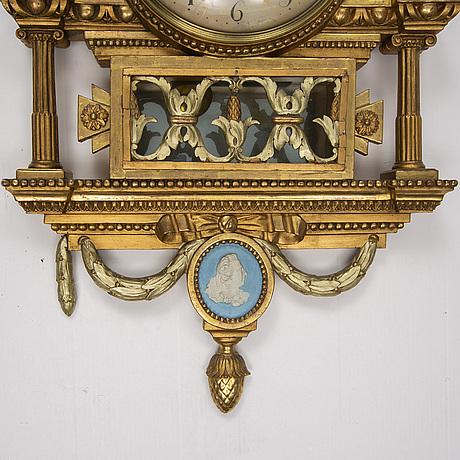 VÄggpendyl, av anders lundstedt (urmakare i stockholm 1786-1820), gustaviansk.