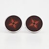 Louis vuitton, a pair of sterling silver and enamel cufflinks.