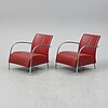 A pair of 'lomas' easy chairs by gijs papavone for montis.
