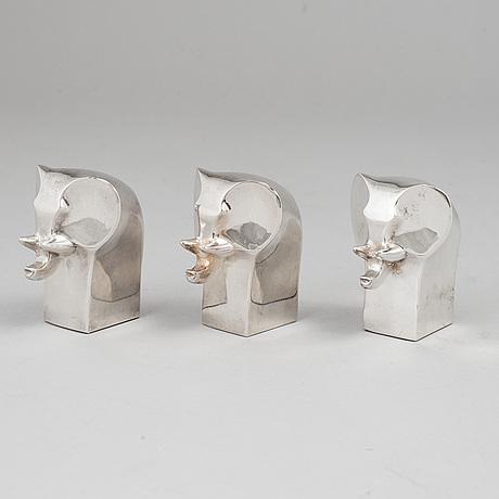Gunnar cyrÉn, figuriner, 3 st. silverpläterad zink. dansk designs, japan.