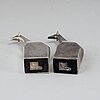 Gunnar cyrÉn, a group of two silver plated figurines, dansk designs, japan.