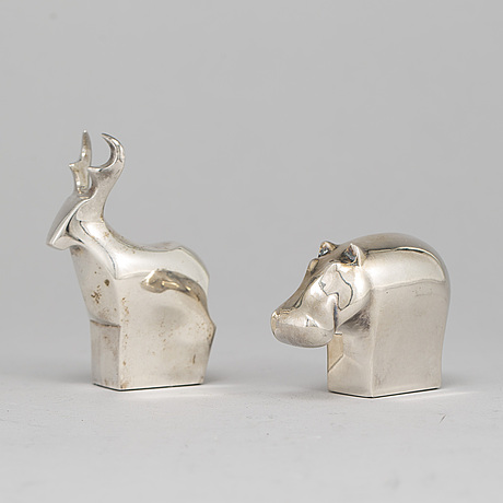 Two silver plated figurines, incl. gunnar cyrén, dansk designs, japan.