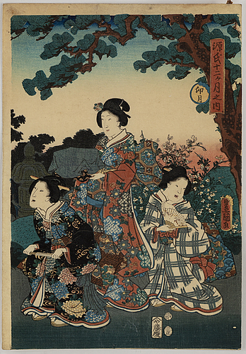 Toyohara kunichika (1835–1900) and utagawa kunisada, two coloured woodblock prints, japan, 19th century.
