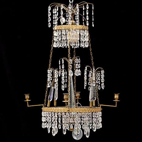 A gustavian style chandelier, circa 1900.